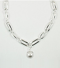 Anne Klein® Silvertone Chain Necklace with Pearl Drop