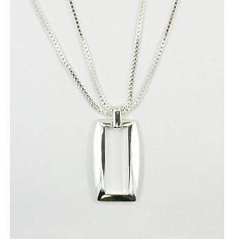 "Anne Klein® 24"" Silvertone Double Chain with Rectangle Pendant"