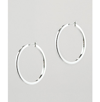 Anne Klein® Large Silvertone Hoop Earrings