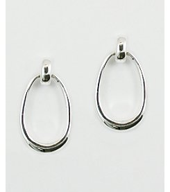 Anne Klein® Silvertone Post with Oval Drop Earrings