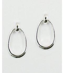 Anne Klein® Silvertone Post with Oval Drop Earrings