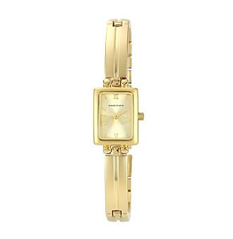 Anne Klein® Women's Goldtone Solid Link Bracelet Watch
