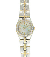 Anne Klein® Women's Crystal Two-Tone Link Bracelet Watch