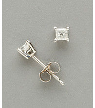 14K White Gold .25 ct. t.w. Princess Cut Diamond Stud Earrings