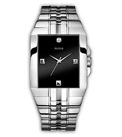 GUESS Men's Steel Black Diamond Dial Bracelet Watch