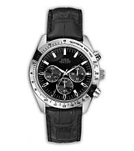 Guess Men's Chronograph with Black Leather Strap Watch