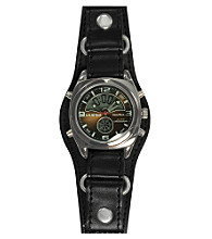Unlisted by Kenneth Cole® Men's Round Gunmetal IP Ana-Digital Dial Black Cuff Strap Watch