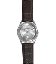 Unlisted by Kenneth Cole® Men's Round Silver Case & Dial Brown Strap Watch