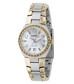 Fossil® Two-Tone Silver Dial Glitz Watch