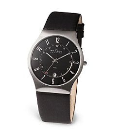 Skagen Men's Black Leather and Steel Watch