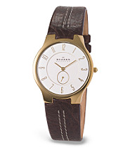 Skagen Denmark Men's Brown Leather Steel Watch