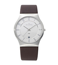 Skagen Denmark Men's Brown Leather & Steel Watch