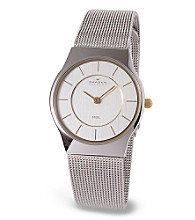 Skagen Denmark Men's Silver and Gold Mesh Steel Watch