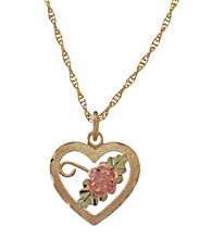 Black Hills Gold Tricolor 10K Dakota Rose Heart Pendant