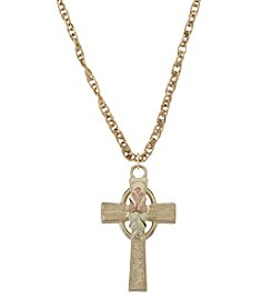 Black Hills Gold Tricolor 10K Gold Cross Pendant