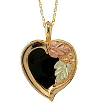 Black Hills Gold Tricolor 10K Onyx Heart Pendant