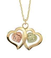 Black Hills Gold Tricolor 10K Double Heart Pendant