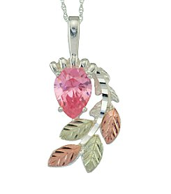 Black Hills Gold Tricolor Sterling Silver Pink Cubic Zirconia Pendant