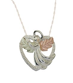 Black Hills Gold Tricolor Sterling Silver Angel Heart Pendant