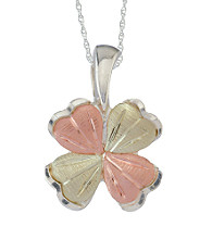 Black Hills Gold Tricolor Sterling Silver Four Leaf Clover Pendant