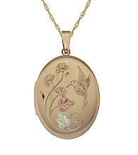 Black Hills Gold Tricolor Gold-Filled Hummingbird Locket