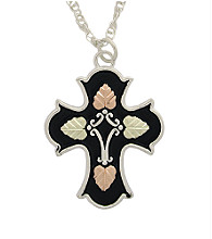 Black Hills Gold Tricolor Sterling Silver Antiqued Cross Pendant