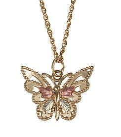 Black Hills Gold Tricolor 10K Butterfly Pendant