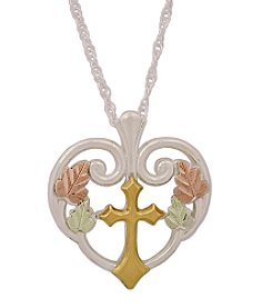 Black Hills Gold Tricolor Sterling Silver Tango Cross Pendant