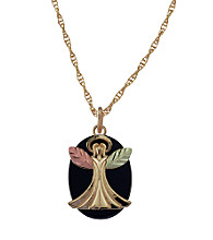 Black Hills Gold Tricolor 10K Angel Pendant with Onyx