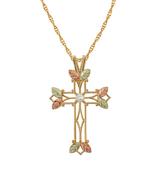 Black Hills Gold Tricolor 10K White Zircon Cross Pendant