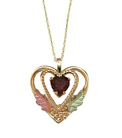 Black Hills Gold Tricolor 10K Garnet Heart Pendant
