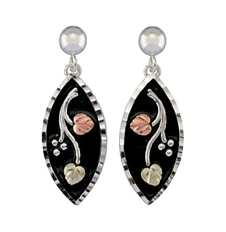 Black Hills Gold Tricolor Sterling Silver Antiqued Earrings