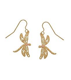Black Hills Gold Tricolor 10K Dragonfly Earrings