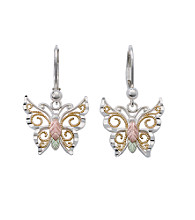 Black Hills Gold Tricolor Sterling Silver Tango Butterfly Earrings