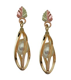 Black Hills Gold Tricolor 10K Pearl Earrings
