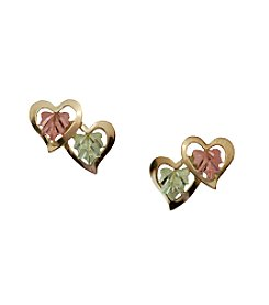 Black Hills Gold Tricolor 10K Double Heart Earrings