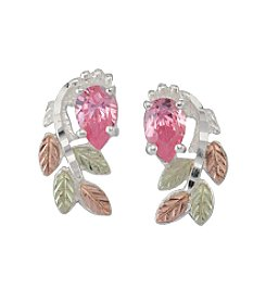 Black Hills Gold Tricolor Sterling Silver Pink Cubic Zirconia Earrings