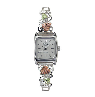 Black Hills Gold tricolor sterling silver ladies' watch with 12K rose and green gold detail.