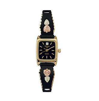 Black Hills Gold Tricolor Women's Black Powder-Coated Watch