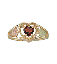 Black Hills Gold 10K Garnet Heart Ring