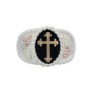 Black Hills Gold Antiqued Men's Cross Ring