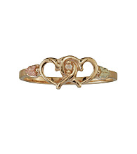 Black Hills Gold 10K Double Heart Diamond Ring