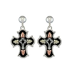 Black Hills Gold Antiqued Cross Earrings