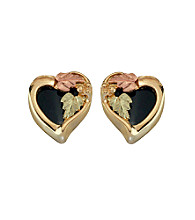 Black Hills Gold 10K Onyx Heart Earrings
