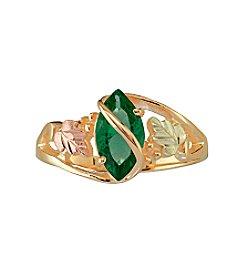 Black Hills Gold 10K Mount St. Helens Emerald Obsidianite Ring