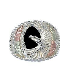 Black Hills Gold Men's Eagle Onyx Ring