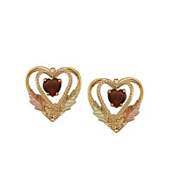 Black Hills Gold 10K Garnet Heart Earrings