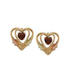 Black Hills Gold 10K Garnet Heart Earrings