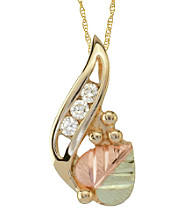 Black Hills Gold 10K Three Diamond Pendant