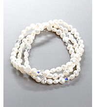 Women's Three Strand Freshwater Pearl Stretch Bracelet
